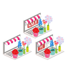 flowers online 3d isometric vector image vector image