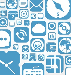 Flying web graphic interface icons background vector image