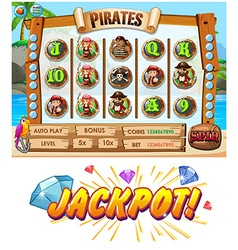 Game template with pirate crew characters vector