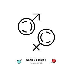 gender icons male and female symbols line art vector image