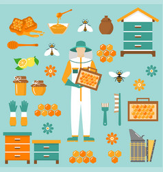 honey beekeeping flat icons set vector image