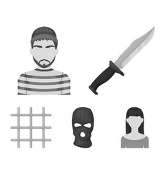 Knife prisoner mask on face steel grille vector