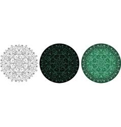 Mandala with Christmas trees and snowflakes vector image