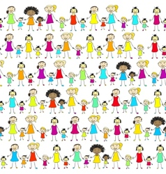 Mums and daughters of different nationalities vector image