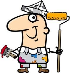 painting worker cartoon vector image