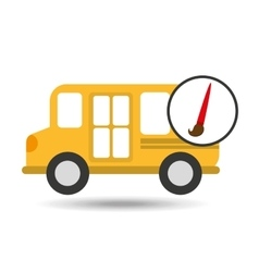 school bus icon brush paint graphic vector image vector image