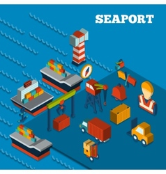 Seaport isometric set vector