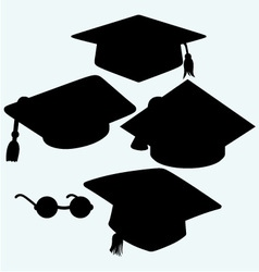 Set graduation cap vector