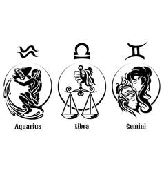 Signs of Air Zodiac Emblem Set vector image