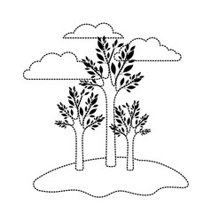 Trees set in grassland and clouds in background in vector