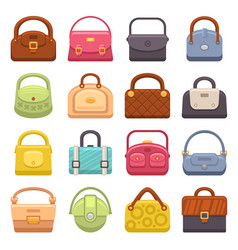 woman fashion bags icons set vector image vector image