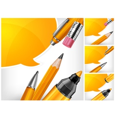 Tip pen pencils speech bubble 10 v vector