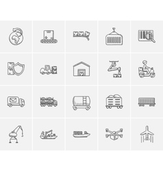 Industry sketch icon set vector