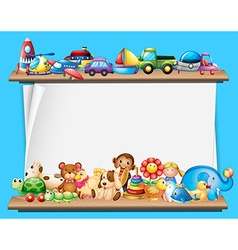 Paper template with toys on shelves vector