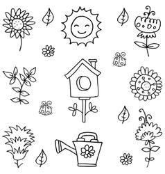 spring item doodles vector image