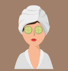 Woman avatar on spa vector