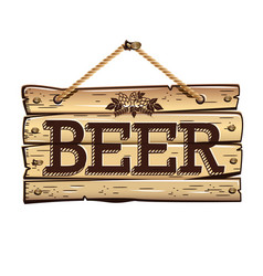 old wooden signboard beer vector image