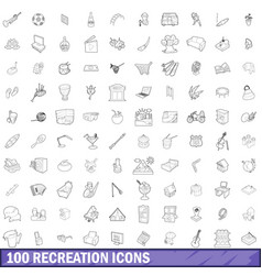 100 recreation icons set outline style vector