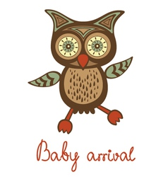 Baby arrival funny owl vector