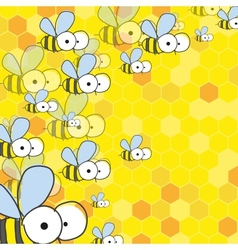 Bees and honey spring background vector