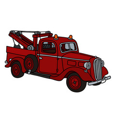 old red small wrecking truck vector image