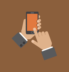 hand holding smart phone and touching screen vector image