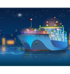 Large cargo ship at night vector