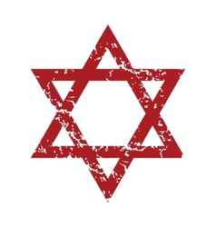 Red grunge Judaism logo vector image