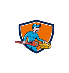 Plumber carrying monkey wrench toolbox shield vector