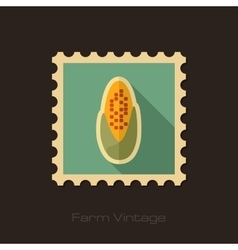 Corncob retro flat stamp with long shadow vector