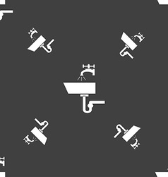 Washbasin icon sign seamless pattern on a gray vector