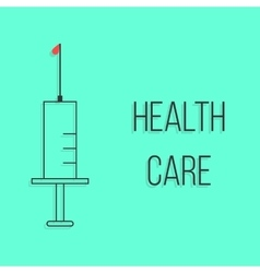 Concept of health care with outline syringe vector