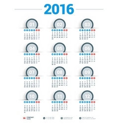 Design print template calendar for 2016 year week vector