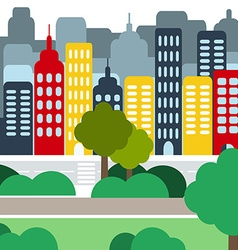 Cityscape with Skyscarpers and Parks at Daytime vector image