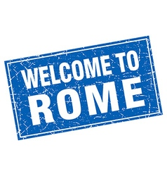Rome blue square grunge welcome to stamp vector
