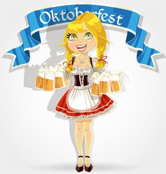 Pretty girl in traditional costume with a beer vector