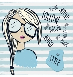 Fashion blonde woman in sunglasses and a sweater vector