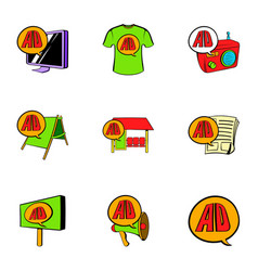 Ali express icons set cartoon style vector