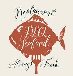 bbq seafood menu with fish on fork and inscription vector image vector image