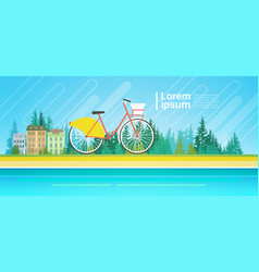 Bicycle over summer landscape mountain forest vector
