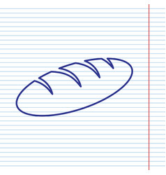 Bread sign navy line icon on notebook vector