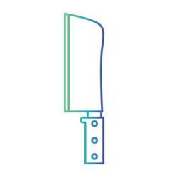 butcher knife degraded blue color contour vector image vector image