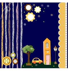 card with houses paper-art vector image