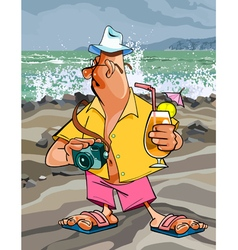 Cartoon man tourist with a camera vector