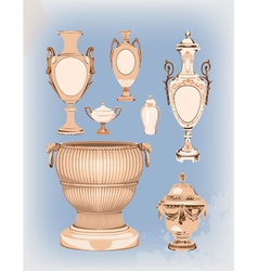 Collection of decorative ceramic vases vector