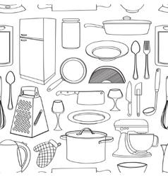 Doodle pattern kitchen vector image vector image
