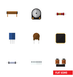 Flat icon appliance set of receptacle resistor vector