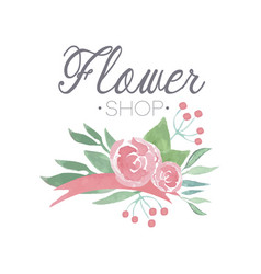 flower shop green and pink colorful logo template vector image
