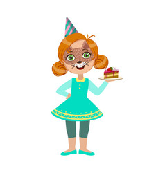 Girl in cat mask with cake piece part of kids at vector