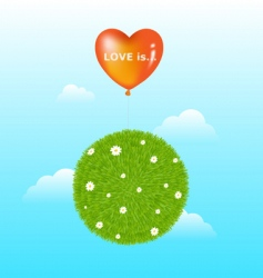 grass ball with red balloon vector image vector image